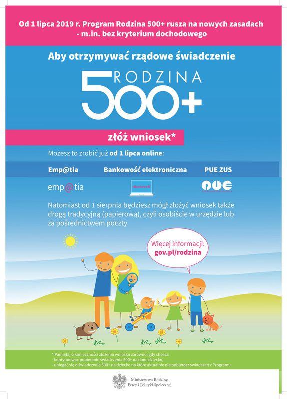 Plakat promujący Program Rodzina 500+