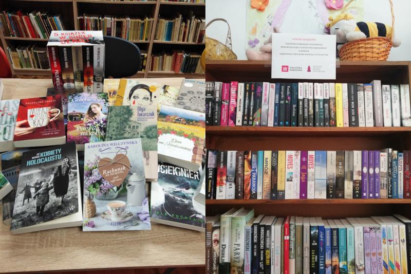 Widok nr 1 to książki leżące na biurku. Widok nr 2 to książki poukładane na półkach bibliotecznych.
