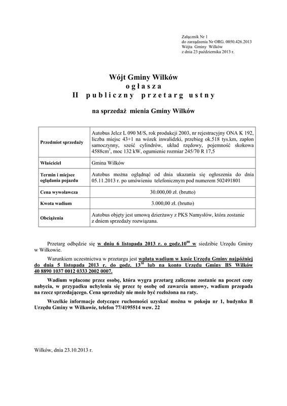 426 - przeprowadzenie II przetargu usnego nieograniczonego na sprzedaż autobusu marki Jelcz i powołanie Komisji Przetargowej_01.jpeg
